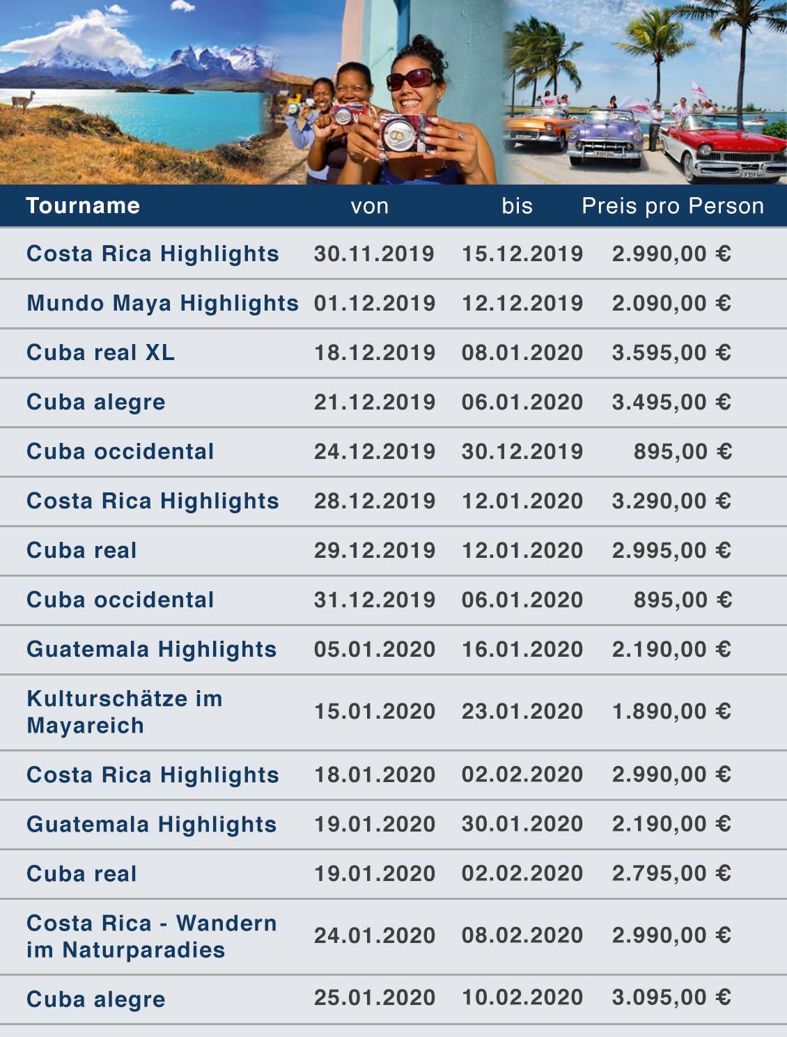 Cuba und Lateinamerika per Gruppenreise Last Minute Liste